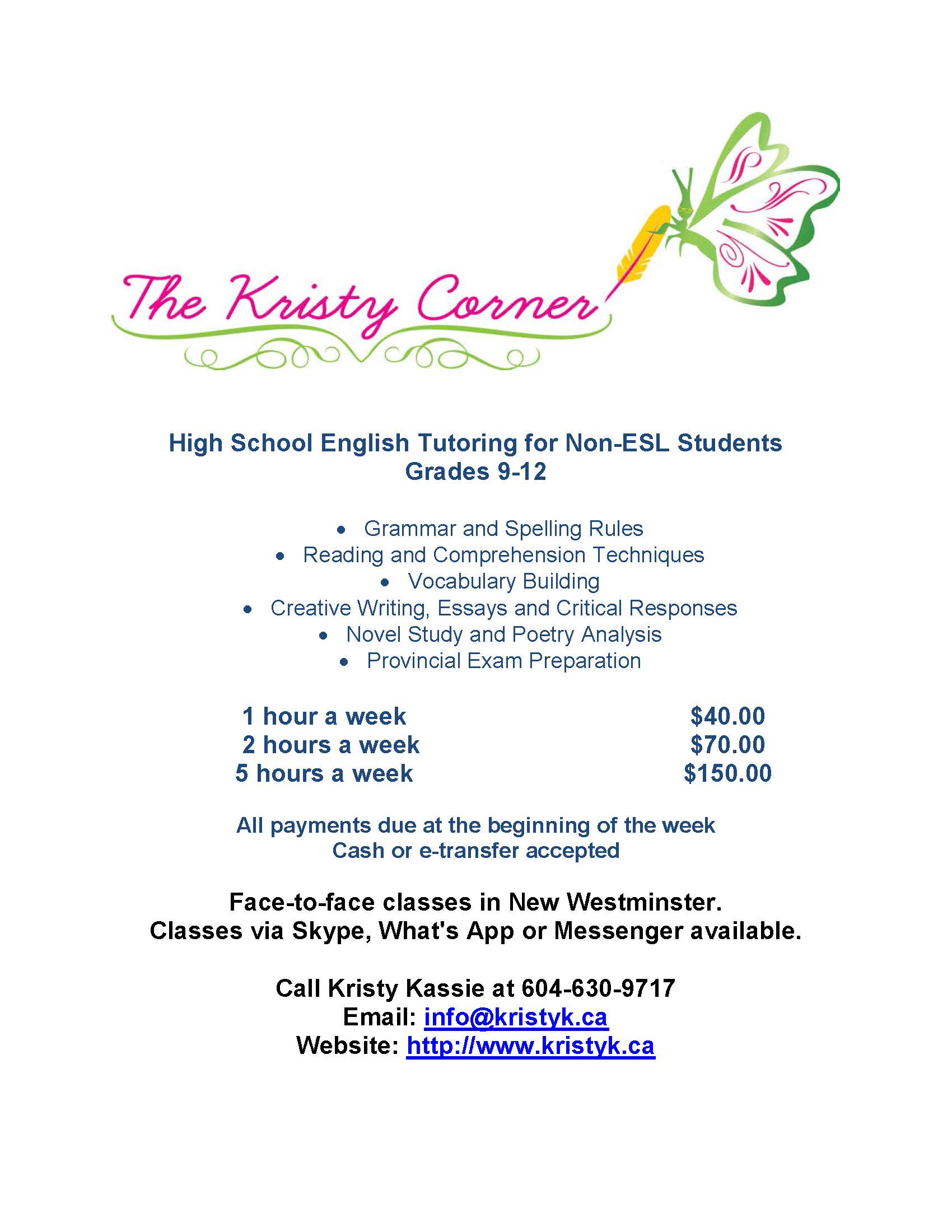 Tutoring Rates - High School and Adult Upgrading