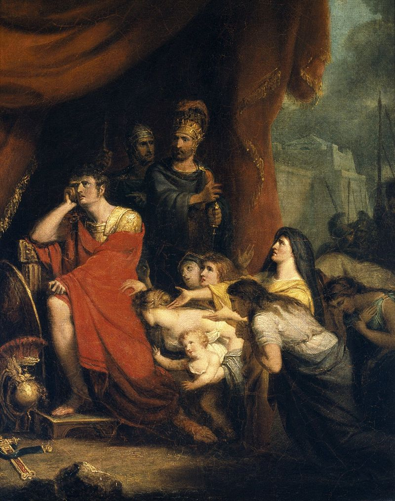 An 1800 painting by Richard Westall of Volumnia pleading with Coriolanus not to destroy Rome