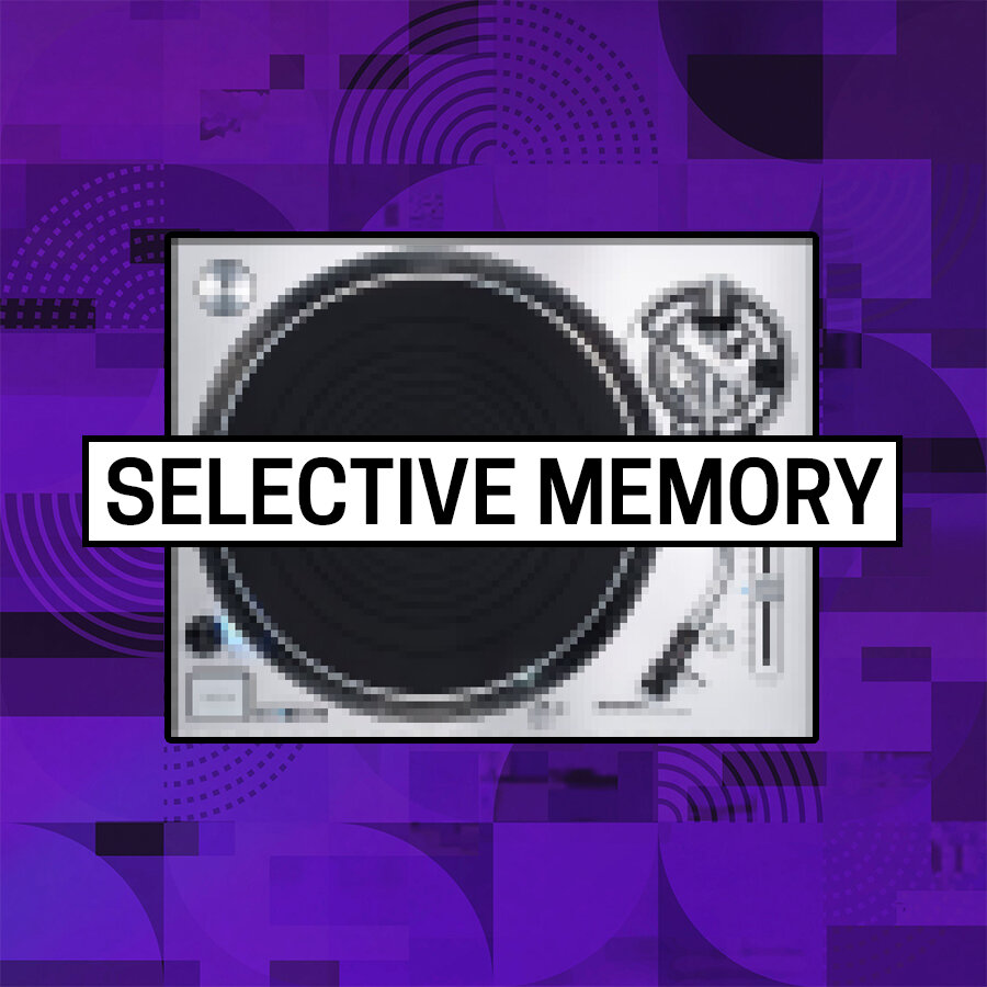 The words Selective Memory against a round, black vinyl record