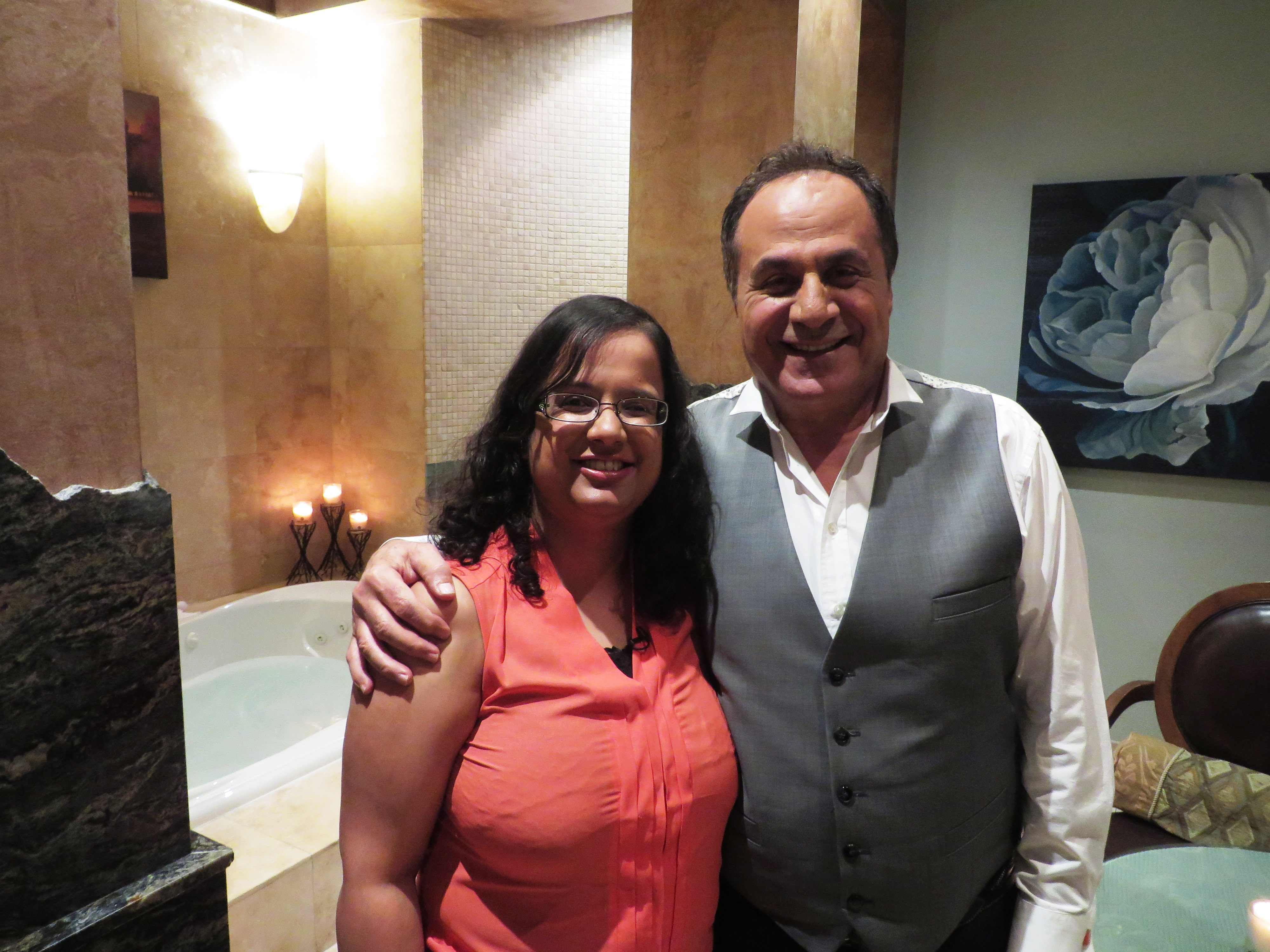 Kristy with the owner of Spa Utopia